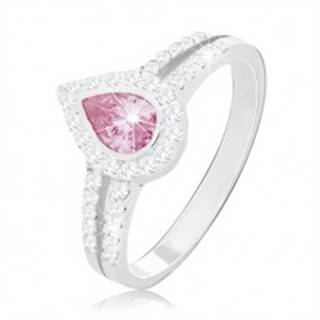 Zásnubný prsteň zo striebra 925, ružová kvapka medzi dvoma líniami zirkónikov - Veľkosť: 49 mm