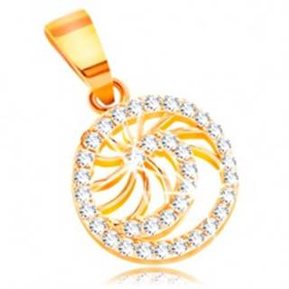 Zlatý prívesok 585 - ligotavá špirála z čírych zirkónov, tenké lesklé lúče
