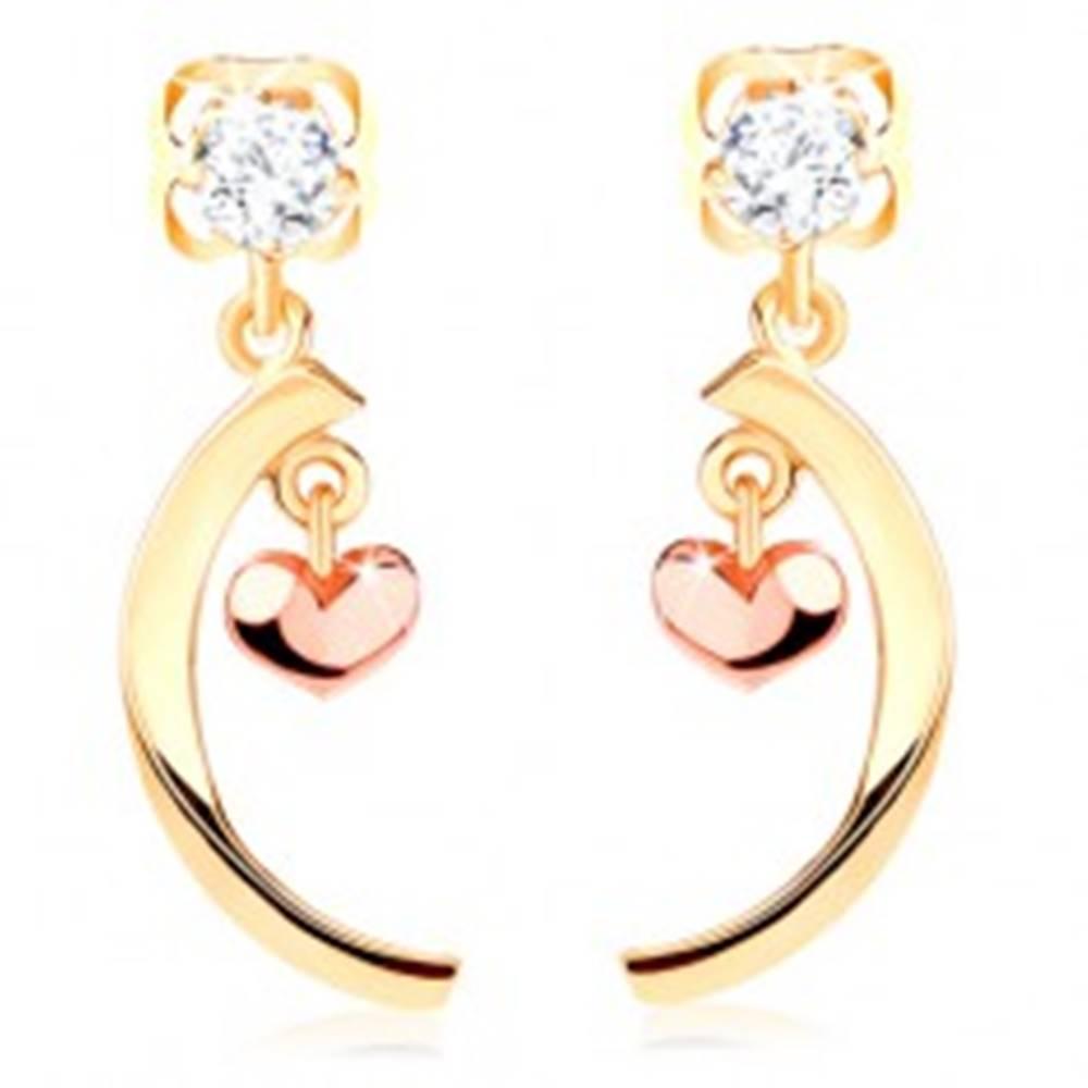 Šperky eshop Diamantové náušnice zo 14K zlata - číry briliant, lesklý oblúk, malé vypuklé srdiečko