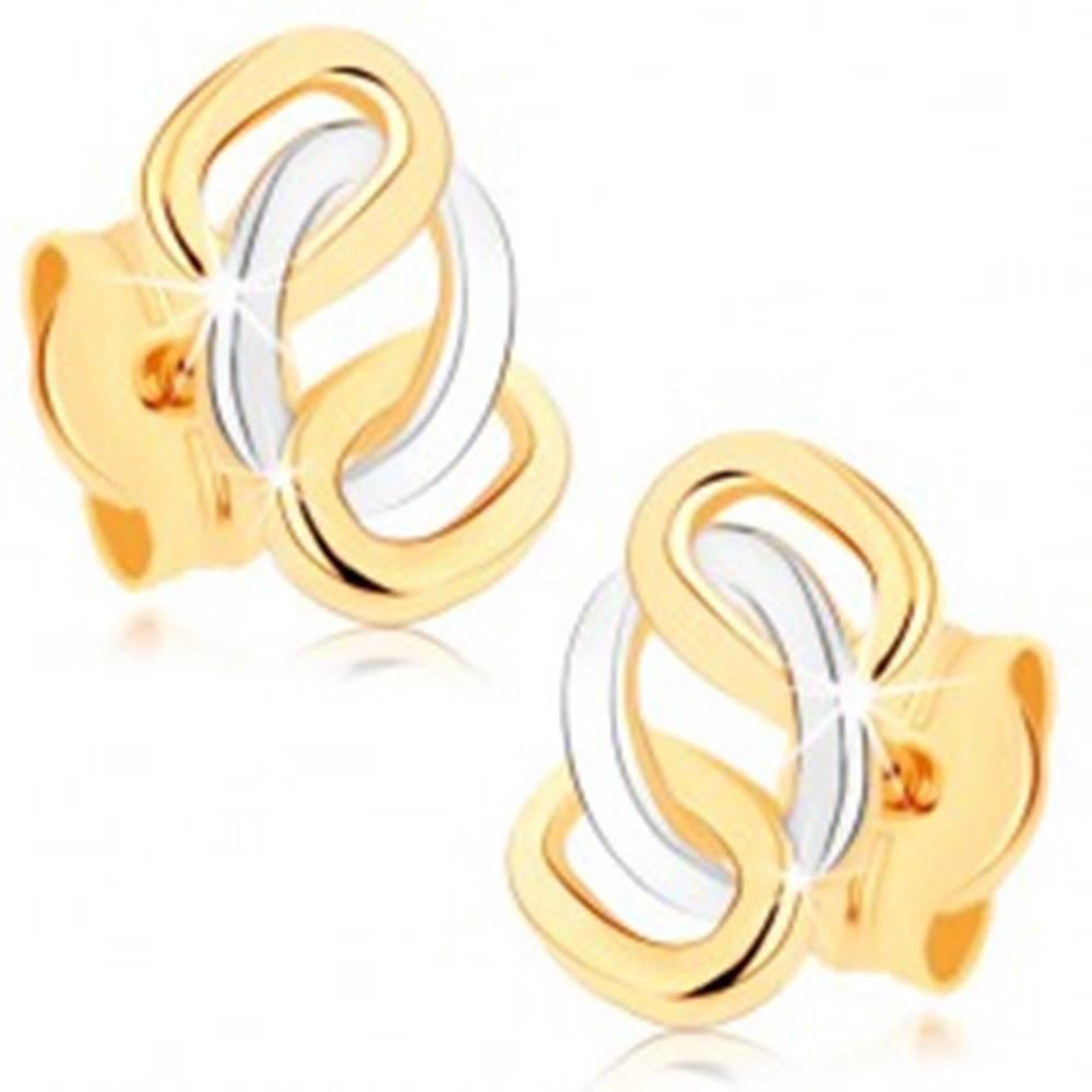 Šperky eshop Dvojfarebné náušnice z 9K zlata - lesklé prepojené obruče, puzetky
