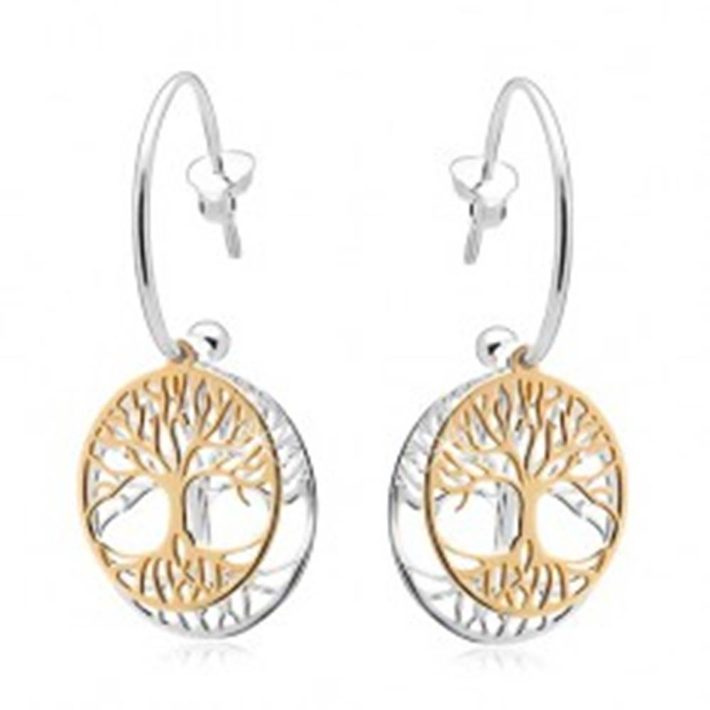 Šperky eshop Dvojfarebné náušnice zo striebra 925, neúplný kruh, strom života v obruči