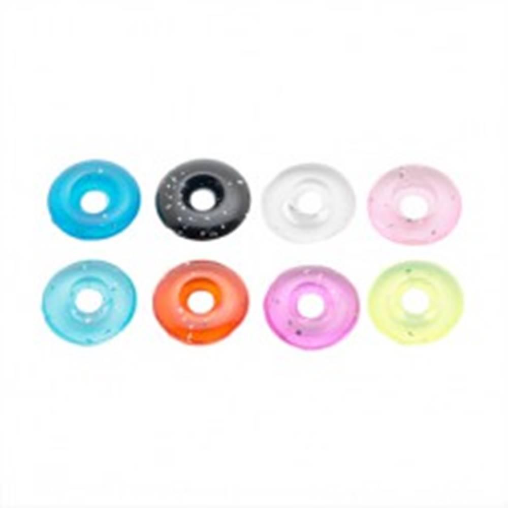 Šperky eshop Farebné koliesko z akrylu s trblietkami - prívesok na piercing - Farba: Čierna