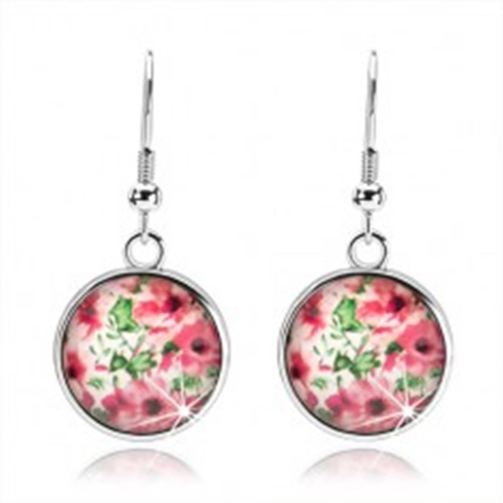 Šperky eshop Kabošon náušnice, kruh s vypuklou glazúrou, ružové kvety, lístky, biely podklad