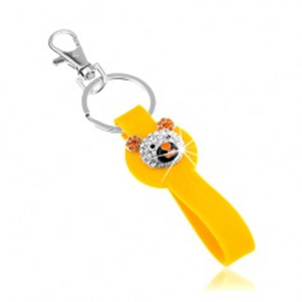 Šperky eshop Kľúčenka striebornej farby, žltý prívesok zo silikónu, ligotavá hlava medvedíka