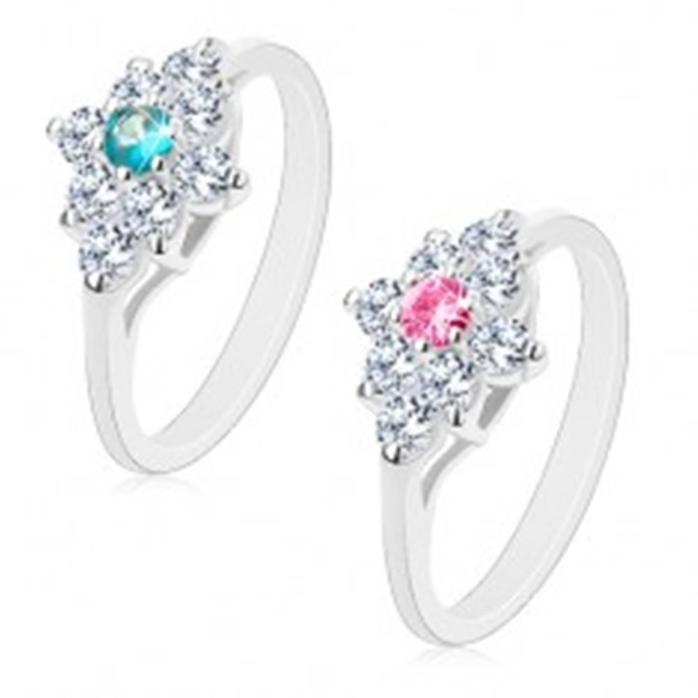 Šperky eshop Ligotavý prsteň, lesklé zúžené ramená, číry kosoštvorec s farebným stredom - Veľkosť: 58 mm, Farba: Ružová