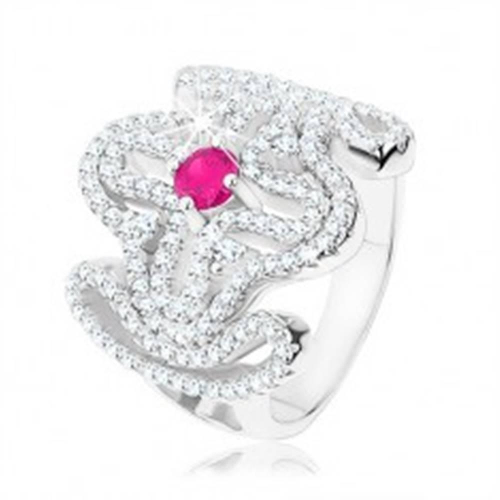 Šperky eshop Mohutný prsteň, striebro 925, číry zirkónový kríž, ružový zirkón v strede - Veľkosť: 53 mm
