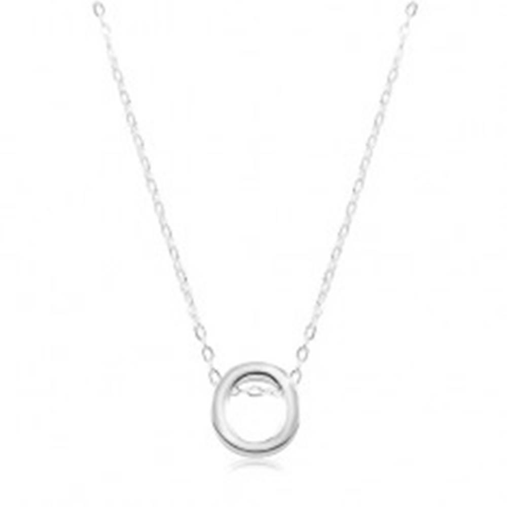 Šperky eshop Nastaviteľný náhrdelník, striebro 925, veľké tlačené písmeno O