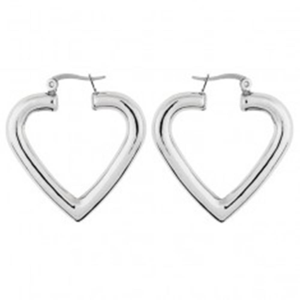 Šperky eshop Náušnice 316L - lesklé, hladké srdce
