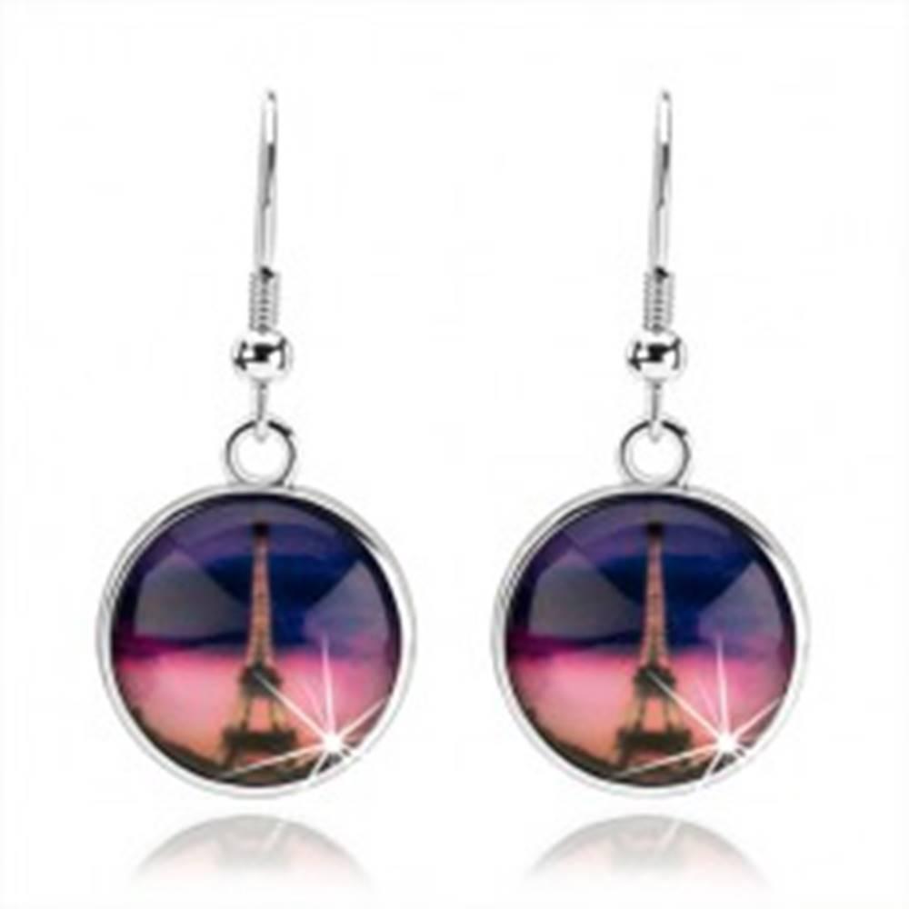 Šperky eshop Náušnice cabochon, číra vypuklá glazúra, Eiffelova veža, ružovo-fialové pozadie