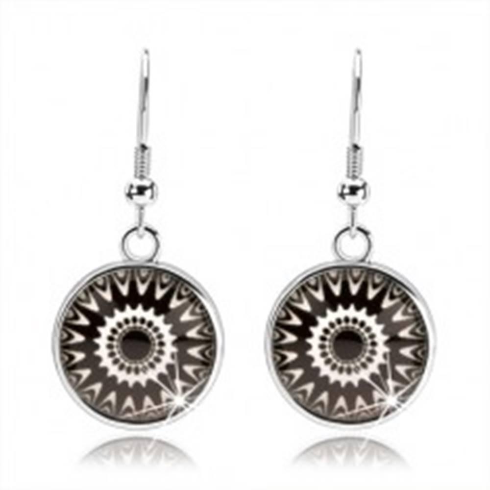 Šperky eshop Náušnice typu kabošon, číre sklo, čierno-biele ornamenty, afroháčiky