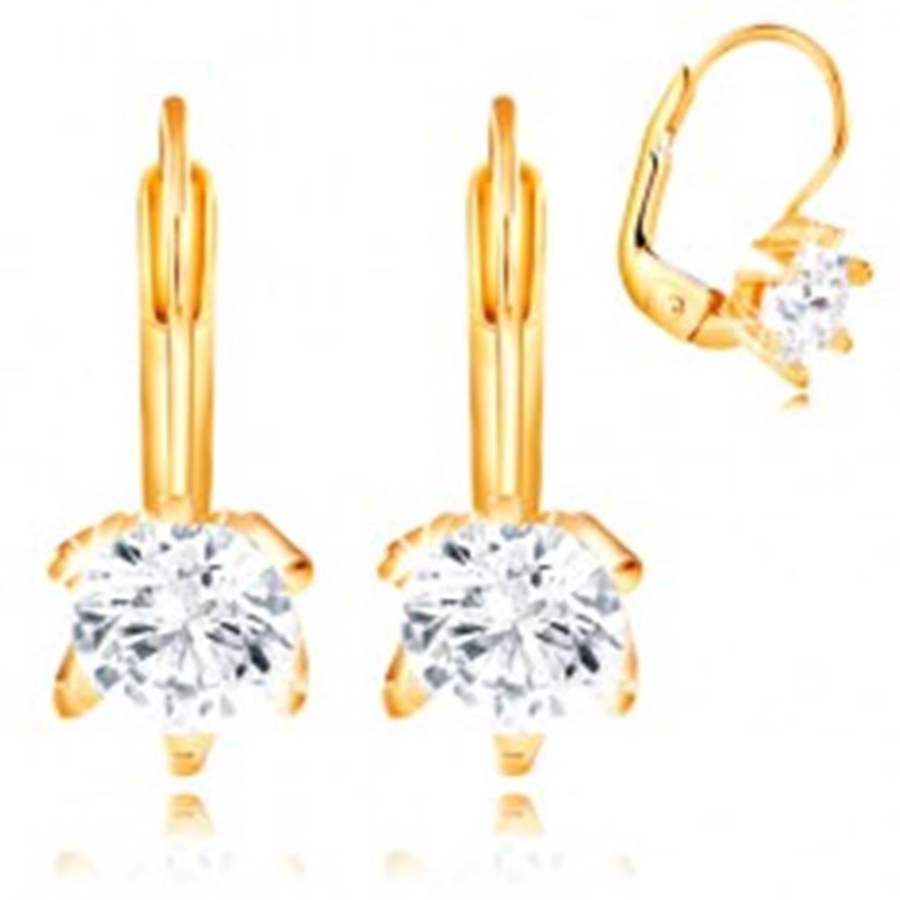 Šperky eshop Náušnice v žltom 14K zlate - okrúhly číry zirkón v šesťcípom kotlíku, 5 mm