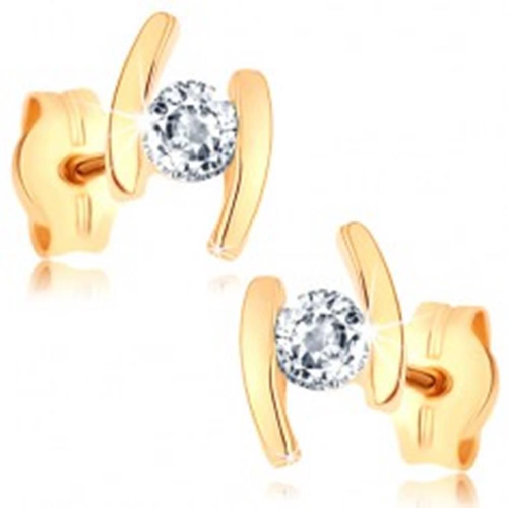 Šperky eshop Náušnice v žltom 9K zlate - dva oblúčiky, číry zirkón uprostred