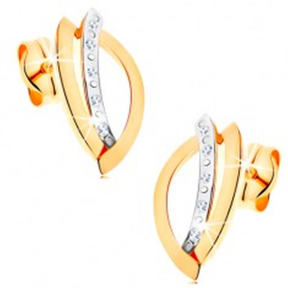 Šperky eshop Náušnice z kombinovaného 14K zlata - kontúra zrnka a oblúk zdobený zirkónmi