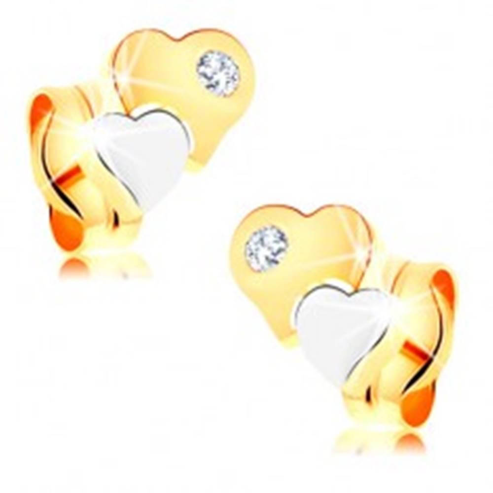 Šperky eshop Náušnice zo 14K zlata - dvojfarebné lesklé srdiečka, číry zirkónik