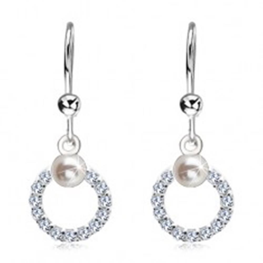 Šperky eshop Náušnice zo striebra 925, číra zirkónová obruč s bielou perlou
