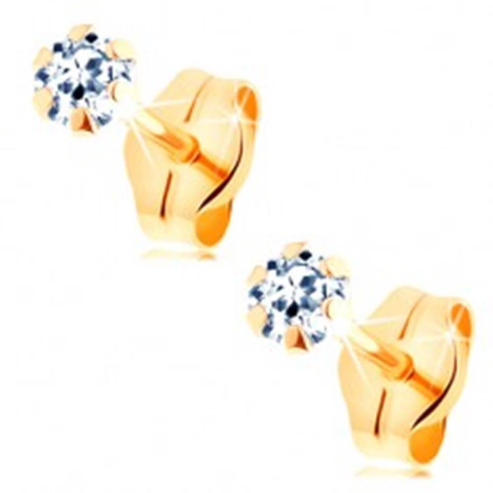 Šperky eshop Náušnice zo žltého 14K zlata - číry zirkónik uchytený šiestimi paličkami, 3 mm