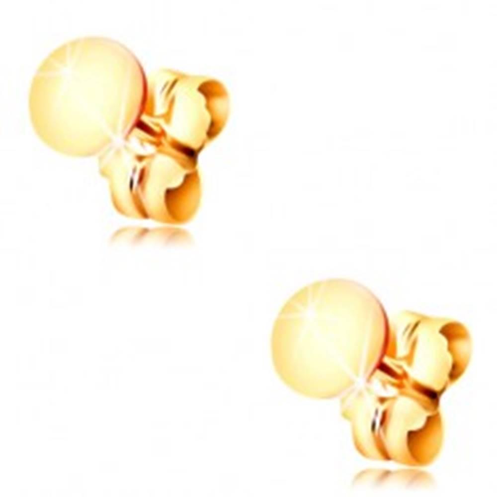 Šperky eshop Náušnice zo žltého 14K zlata - lesklý plochý kruh, puzetové zapínanie