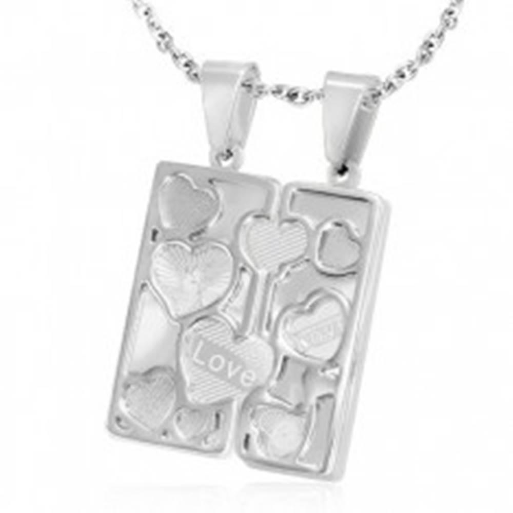 Šperky eshop Oceľový dvojprívesok - gravírovaná tabuľka, obrysové srdcia