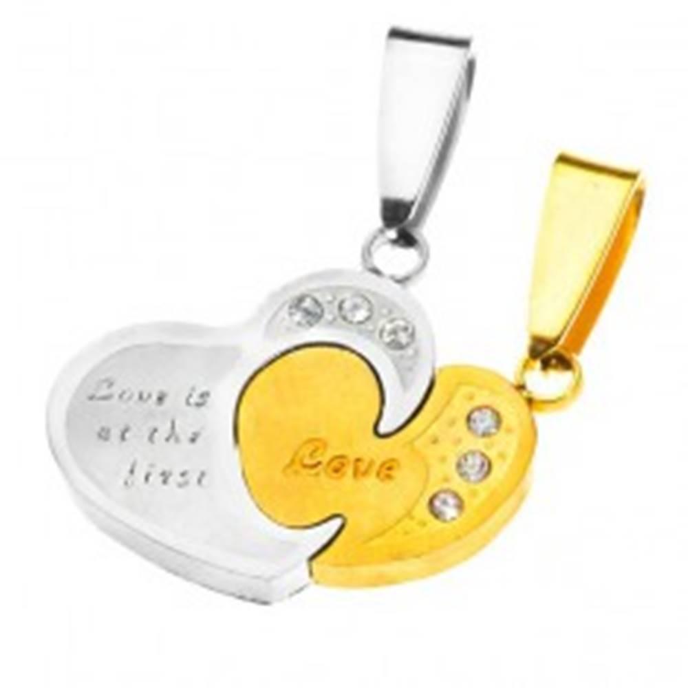 Šperky eshop Oceľový dvojprívesok - spojené dvojfarebné srdcia, zirkóny a nápis