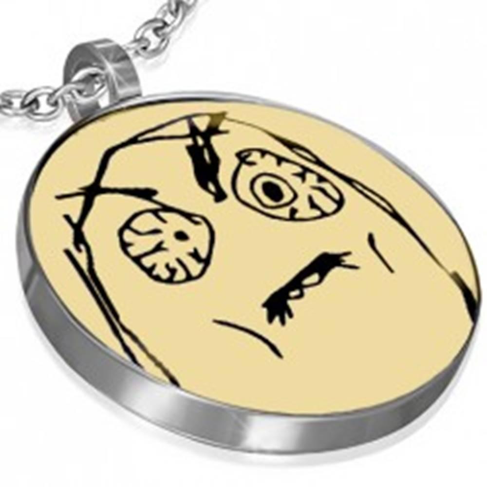 Šperky eshop Oceľový MEME FACE - FUUU prívesok, kľúčenka