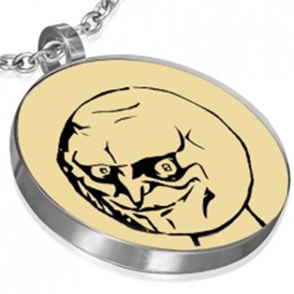 Šperky eshop Oceľový MEME prívesok - YES, okrúhly tvar