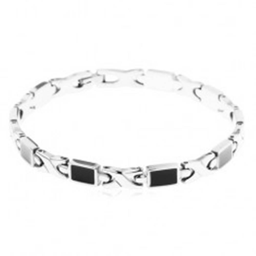 Šperky eshop Oceľový náramok, články X a obdĺžniky zdobené lesklou čiernou glazúrou