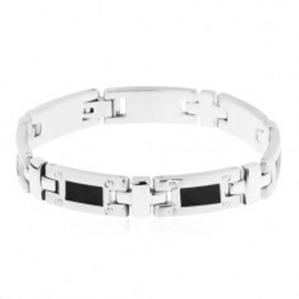 Šperky eshop Oceľový náramok, lesklé podlhovasté články s čiernym obdĺžnikom