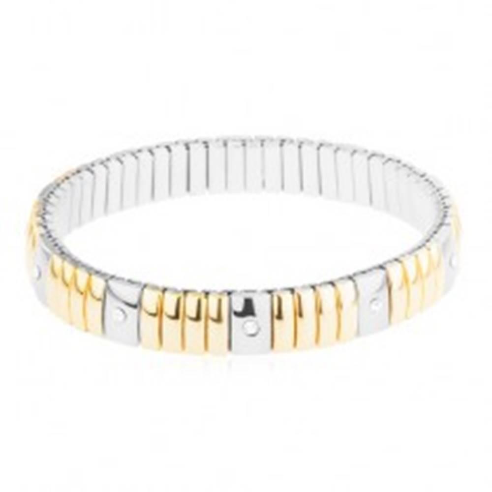 Šperky eshop Oceľový náramok zlatej a striebornej farby, úzke a širšie obdĺžniky, číre zirkóny