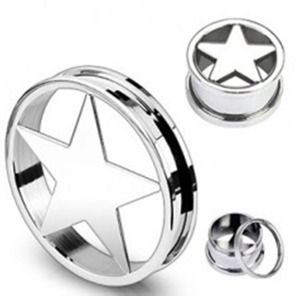 Šperky eshop Oceľový plug do ucha s päťcípou hviezdou - Hrúbka: 10 mm