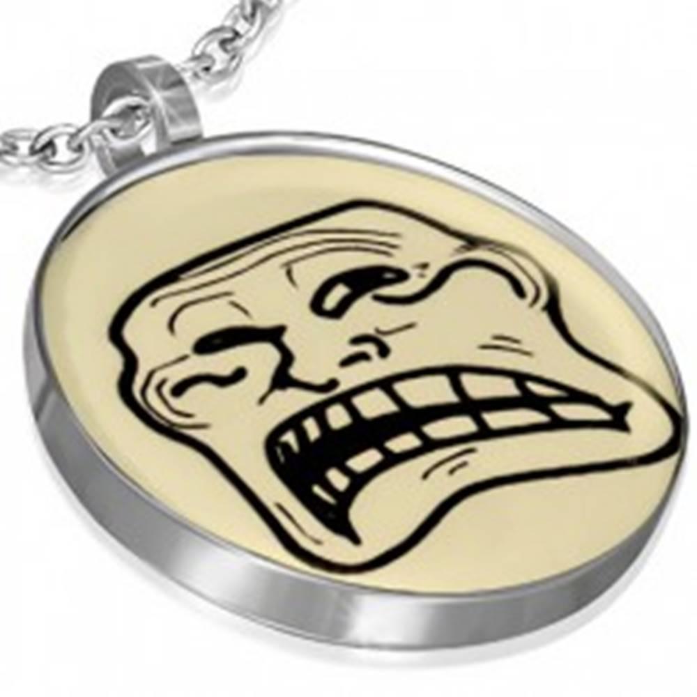 Šperky eshop Oceľový prívesok MEME FACE - TROLLIN