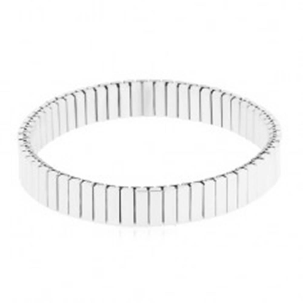 Šperky eshop Oceľový strečový náramok striebornej farby, úzke obdĺžnikové články