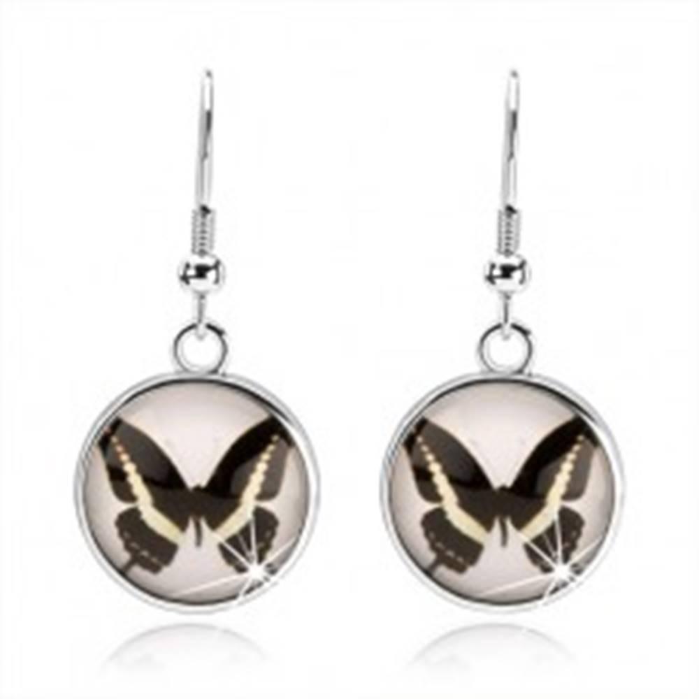 Šperky eshop Okrúhle kabošon náušnice, číre vypuklé sklo, čierno-biely motýlik, afroháčik