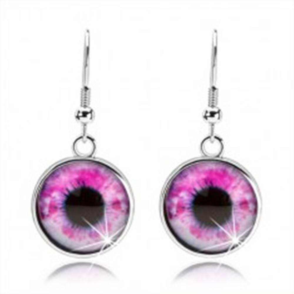 Šperky eshop Okrúhle náušnice, vypuklé sklo, oko v ružovo-bielom odtieni, cabochon