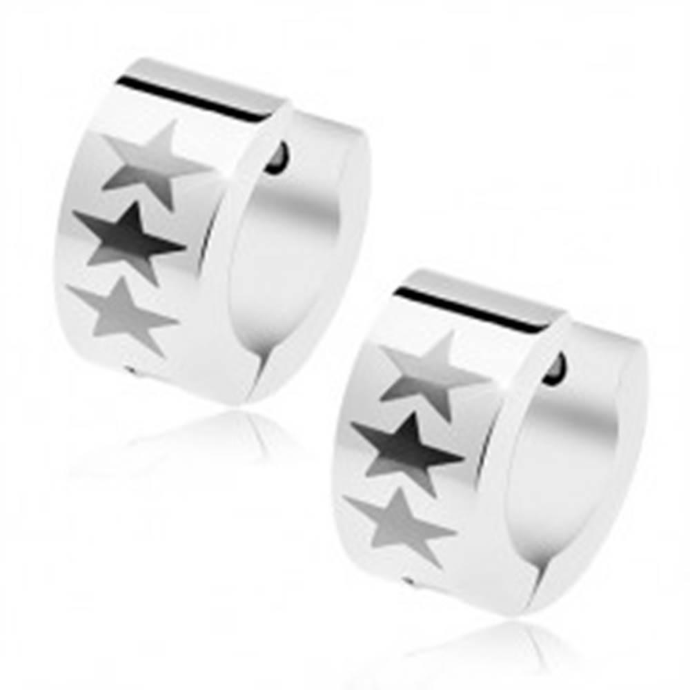 Šperky eshop Okrúhle náušnice z chirurgickej ocele striebornej farby, tri sivé hviezdy
