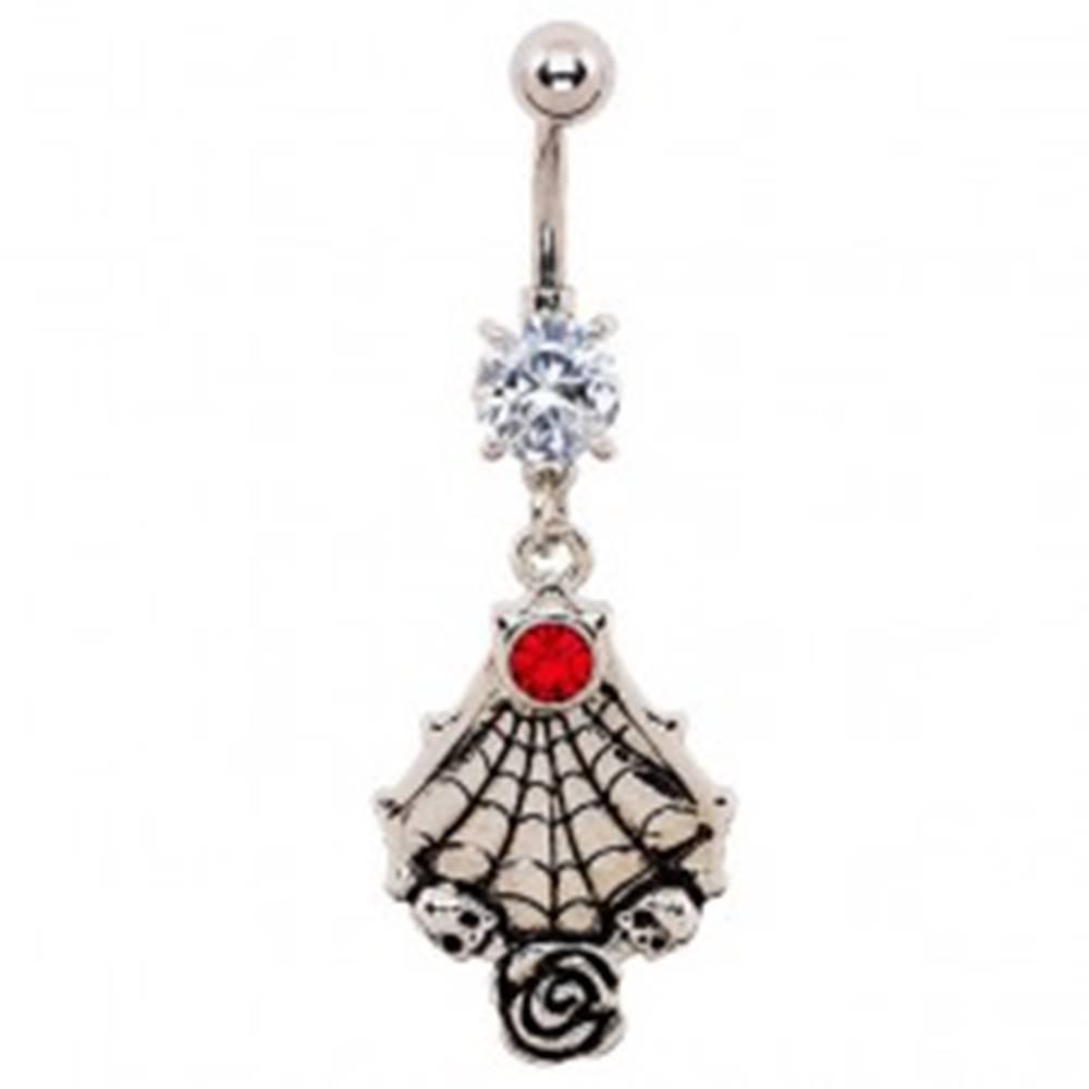Šperky eshop Piercing do brucha - patinovaná pavučina, lebky a ruža, zirkóny
