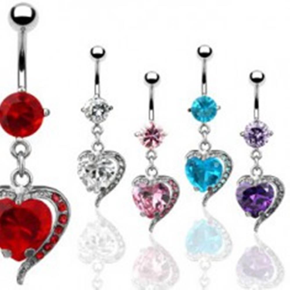 Šperky eshop Piercing do pupka - zirkónové srdce, kovový obrys - Farba zirkónu: Aqua modrá - Q
