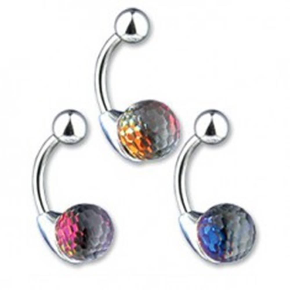 Šperky eshop Piercing do pupku - krištáľová guľa, farebný odlesk - Farba: Fialová
