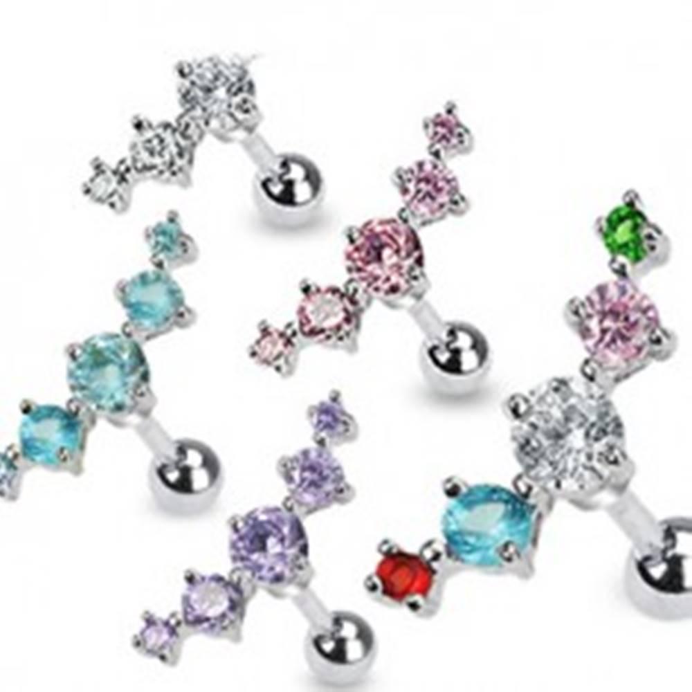 Šperky eshop Piercing do tragusu z chirurgickej ocele - päť zirkónov - Farba zirkónu: Aqua modrá - Q