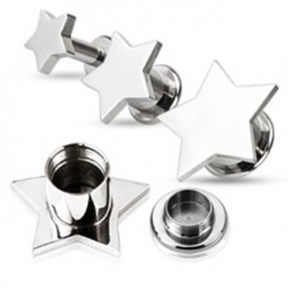 Šperky eshop Piercing do ucha - plug z ocele, hladká hviezda - Hrúbka: 10 mm