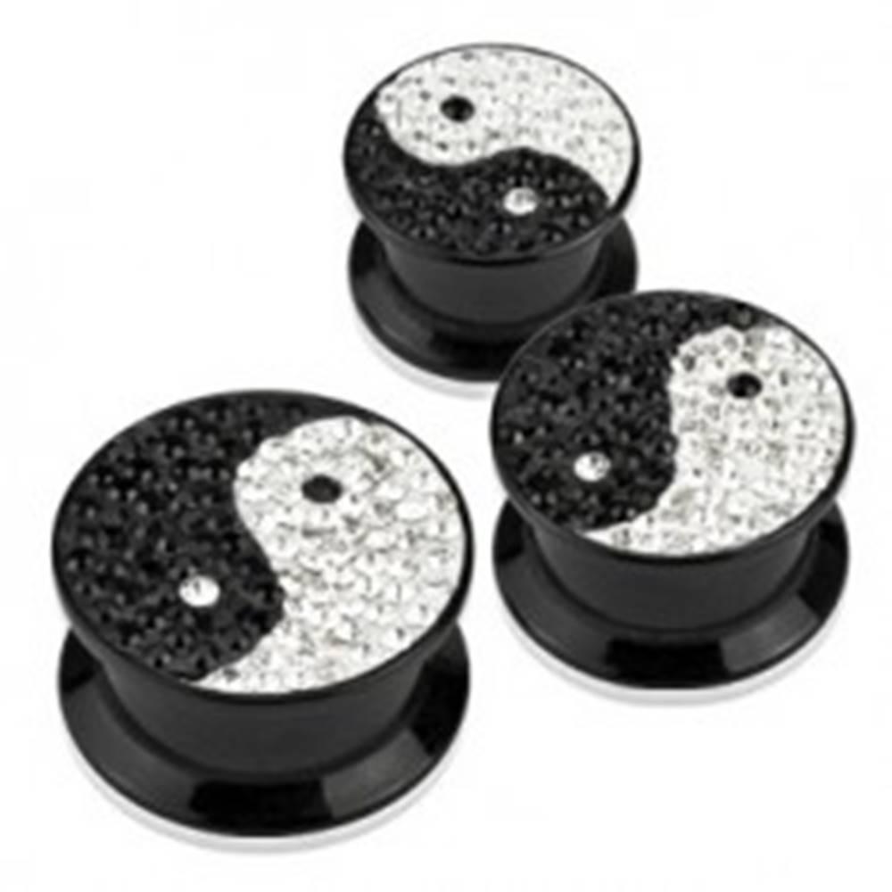Šperky eshop Plug do ucha - JIN JANG, trblietky a zirkóny - Hrúbka piercingu: 10 mm