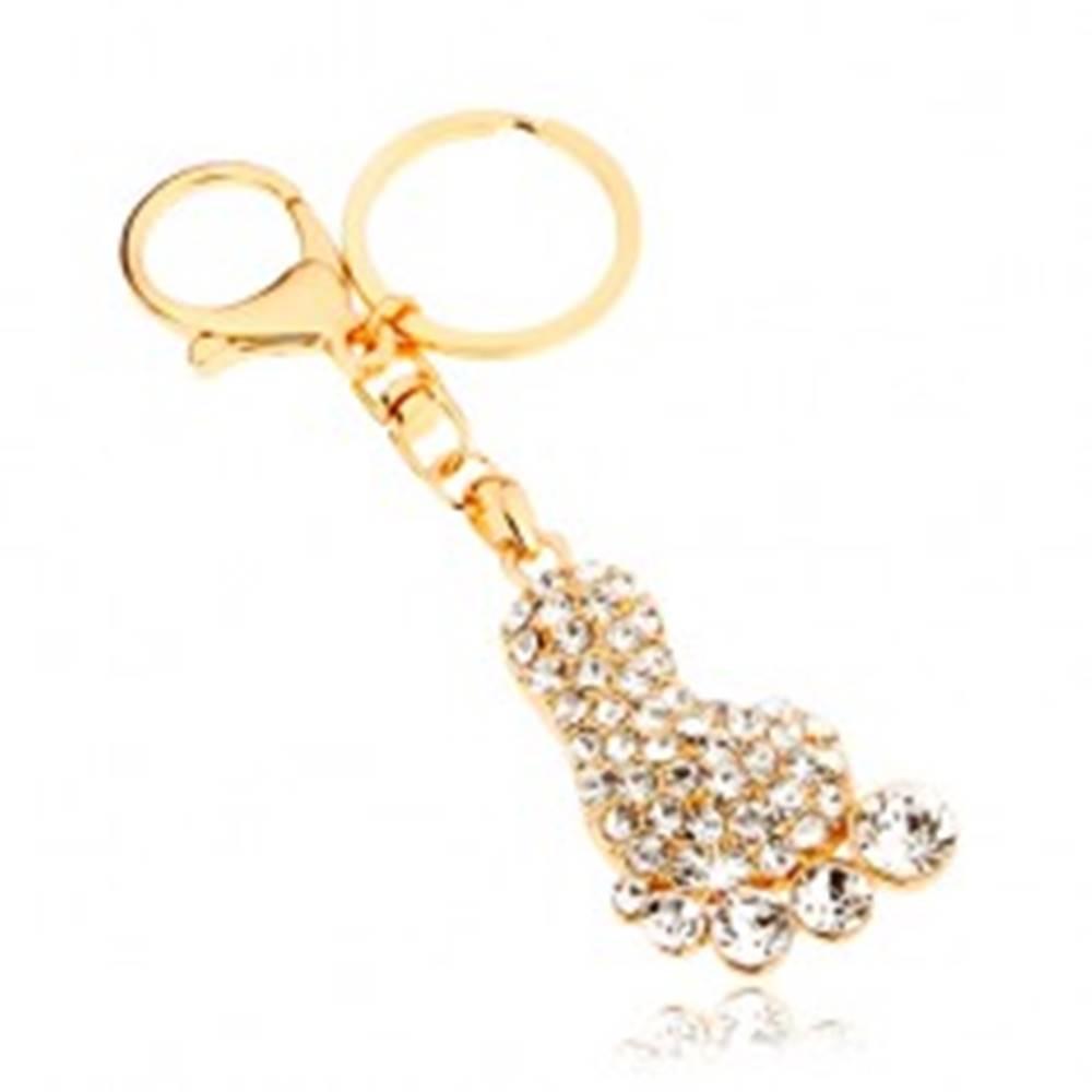 Šperky eshop Prívesok na kľúče v zlatej farbe, trblietavé chodidlo, číre zirkóny