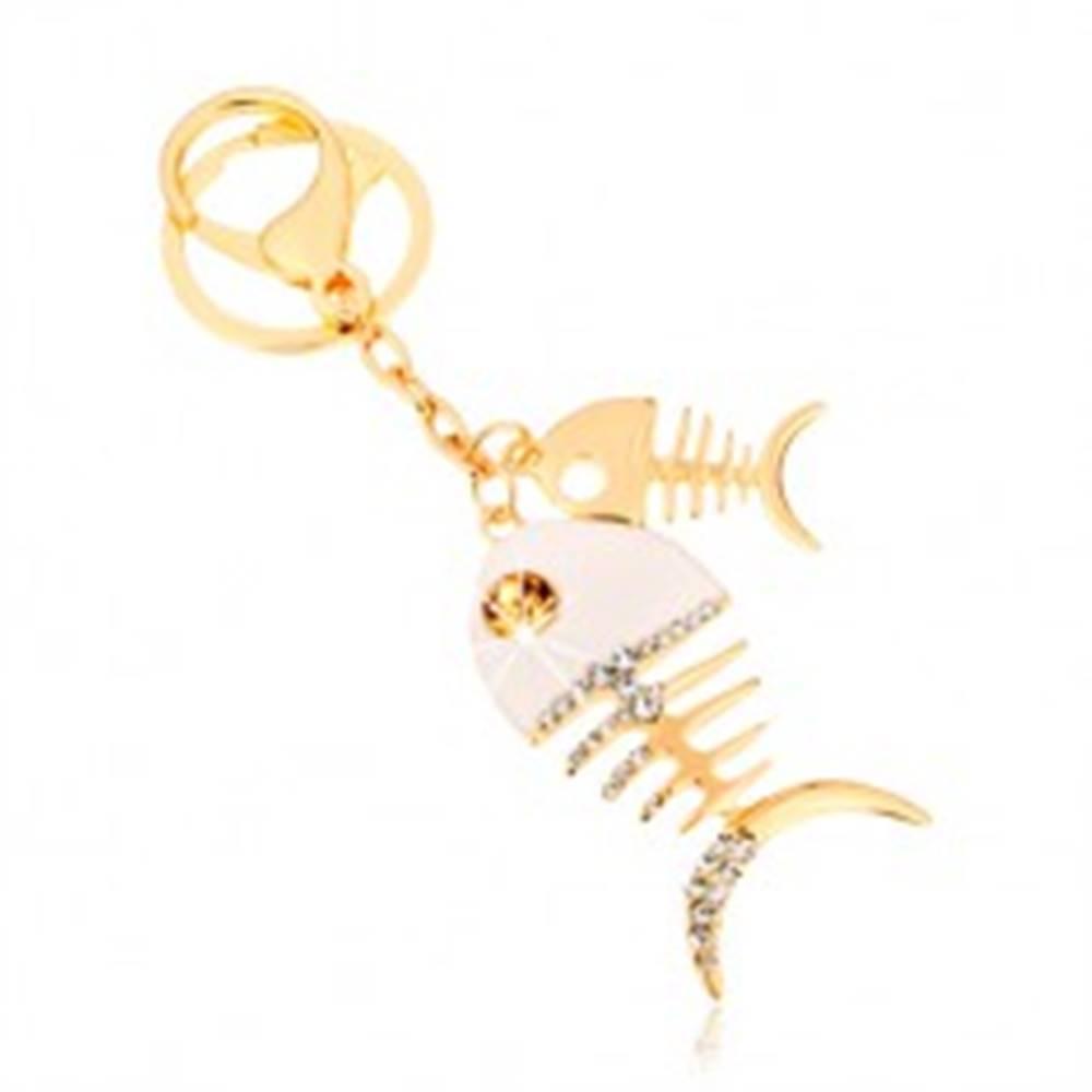 Šperky eshop Prívesok na kľúče v zlatom odtieni, dve lesklé rybie kosti, biela glazúra, zirkóny