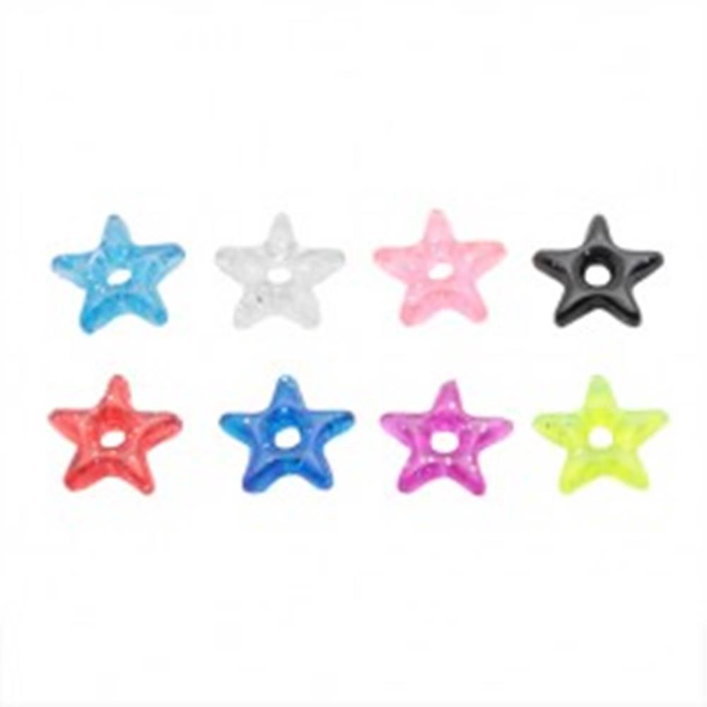 Šperky eshop Prívesok na piercing - farebná akrylová hviezdička s trblietkami - Farba: Červená