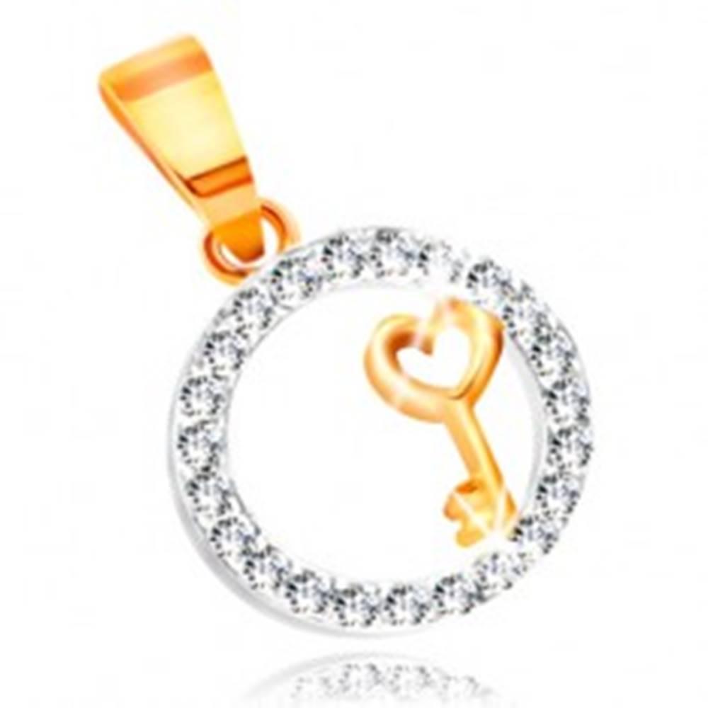 Šperky eshop Prívesok zo zlata 585 - kľúčik so srdiečkom v obruči z čírych zirkónov