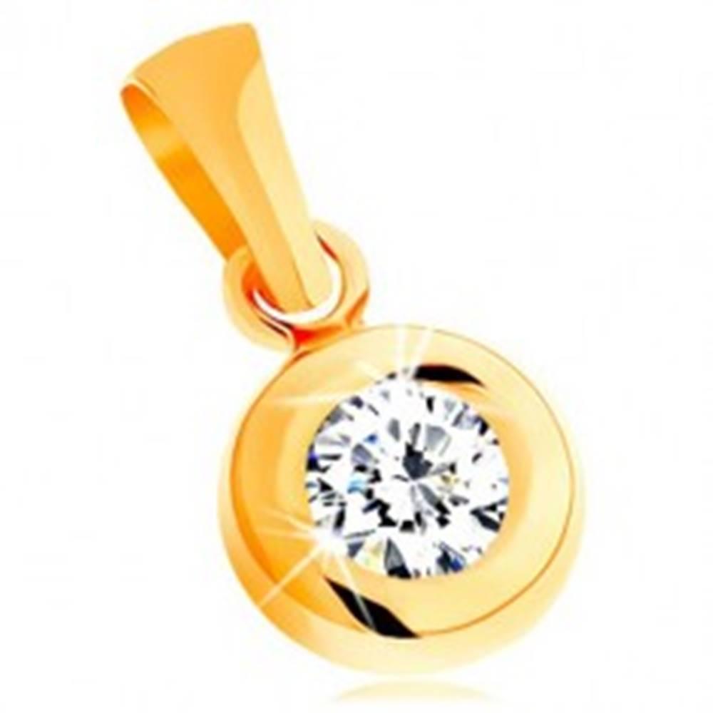 Šperky eshop Prívesok zo žltého 14K zlata - okrúhly číry zirkón v lesklej zaoblenej objímke