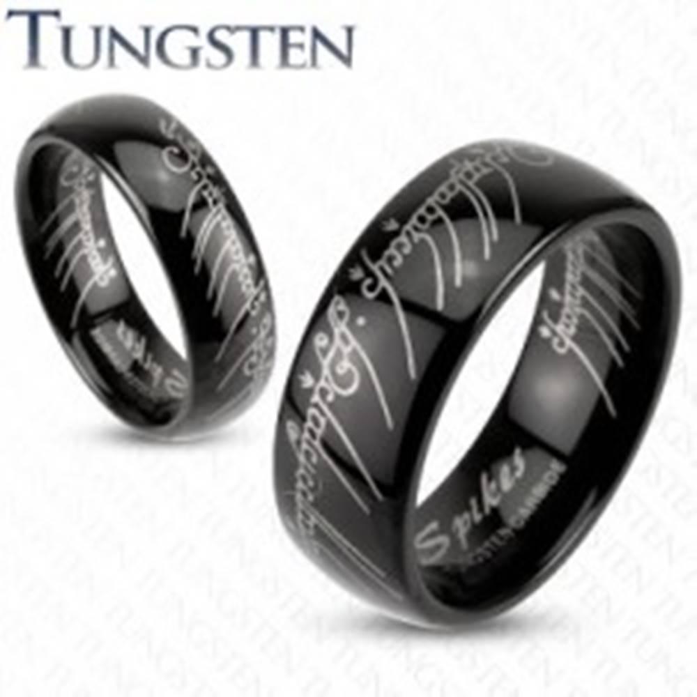 Šperky eshop Prsteň z wolfrámu - hladká čierna obrúčka, Pán prsteňov, 6 mm - Veľkosť: 49 mm