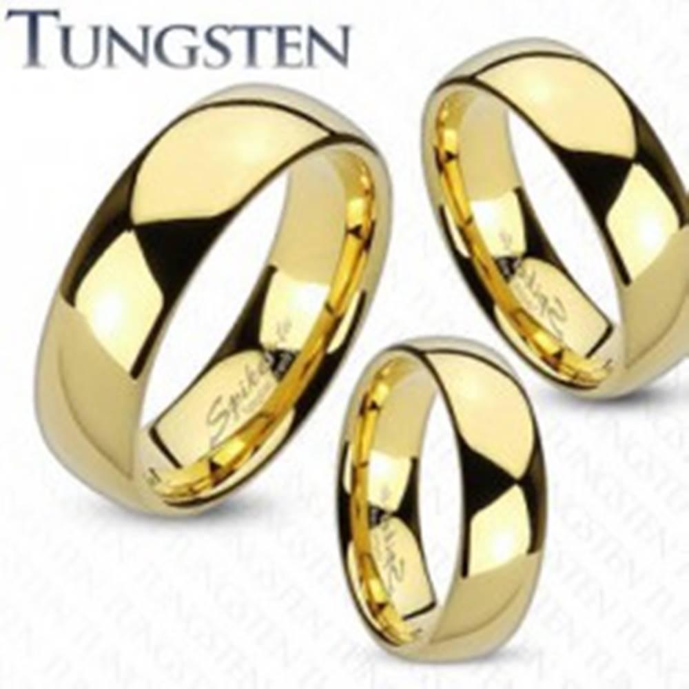 Šperky eshop Prsteň z wolfrámu zlatej farby, zaoblený a hladký povrch, zrkadlový lesk, 8 mm - Veľkosť: 49 mm