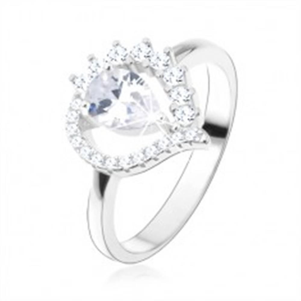 Šperky eshop Prsteň zo striebra 925, asymetrická slza - obrys, číra zirkónová kvapka - Veľkosť: 49 mm