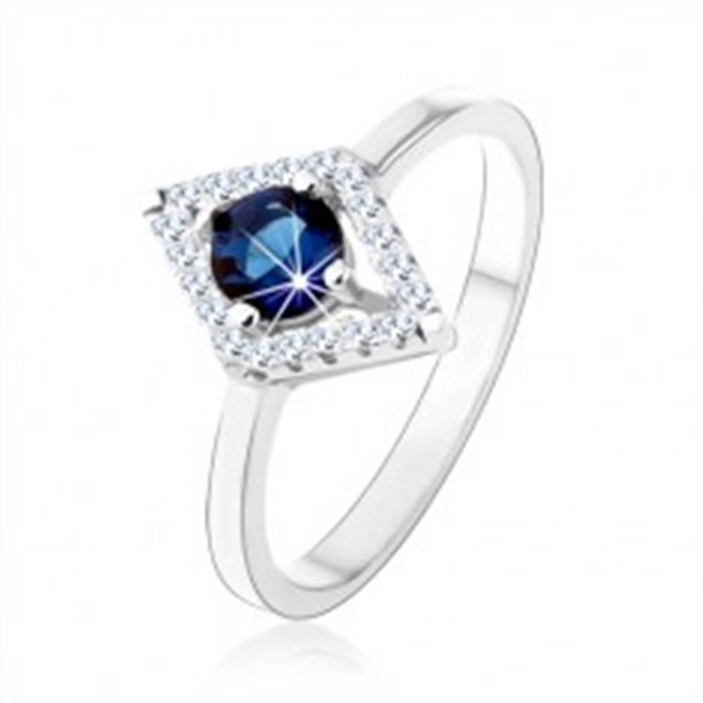 Šperky eshop Prsteň zo striebra 925, obrys kosoštvorca, modrý okrúhly zirkón - Veľkosť: 50 mm