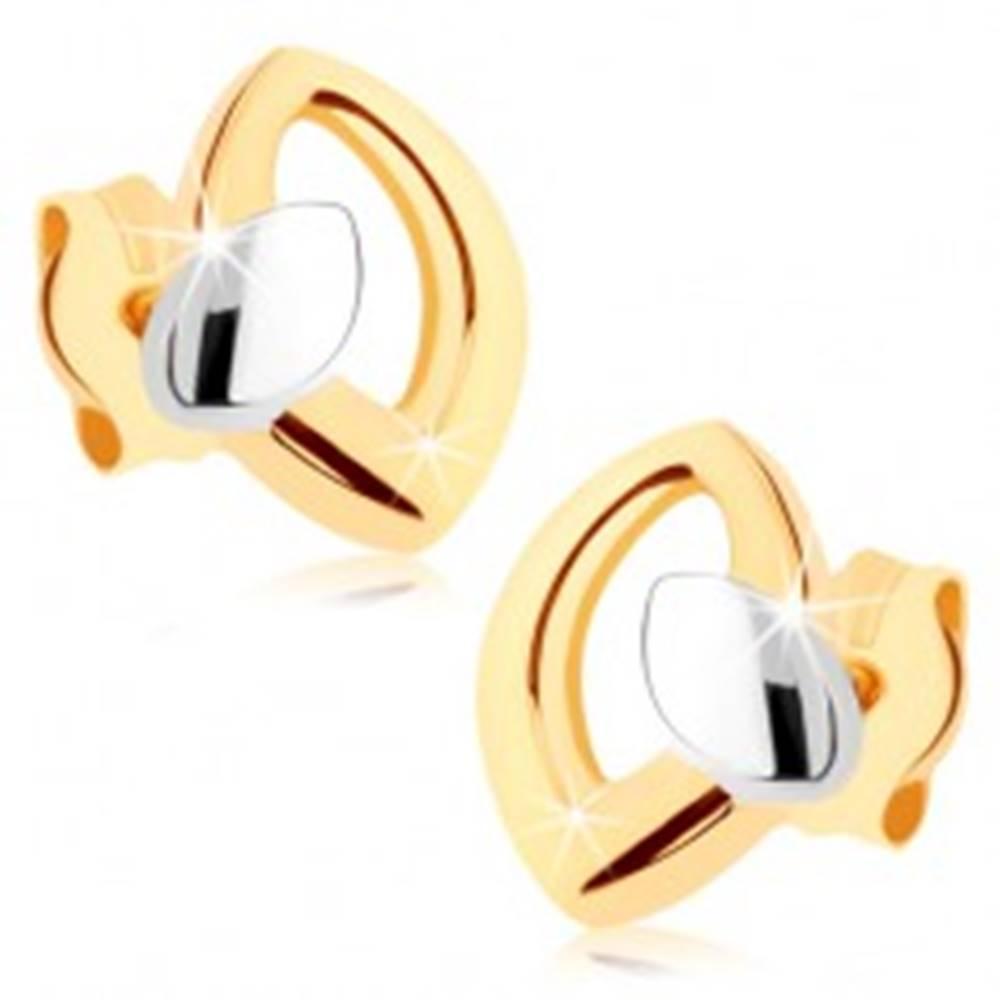 Šperky eshop Puzetové náušnice v žltom 9K zlate, kontúra zrnka s malým zrniečkom